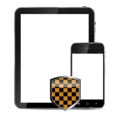 Abstract design realistic mobile phone and tablet vector image vector image