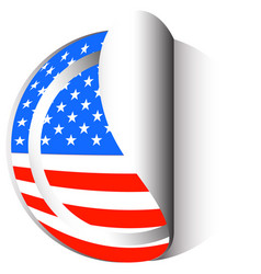 america flag on round sticker vector image