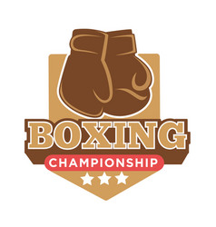 Boxing championship colorful logo label with vector