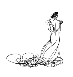 Bride in white dress sketch for your design vector image