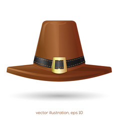 Brown pilgrims hat with a buckle vector