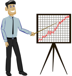 Businessman holding a presentation points to a vector