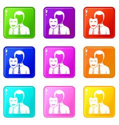 businessman holding smile mask set 9 vector image vector image