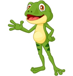 Cartoon adorable frog waving hand vector