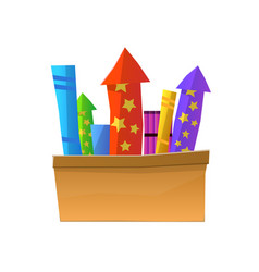 cartoon fireworks in box isolated on white vector image vector image