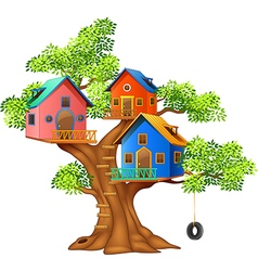 Cartoon of a colorful tree house vector image