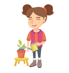 caucasian girl watering plant with a watering can vector image