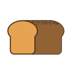 Color image cartoon long bread food vector