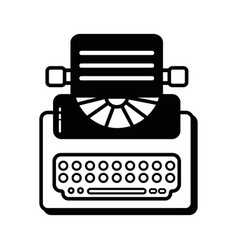 contour retro typewriter equipment with business vector image