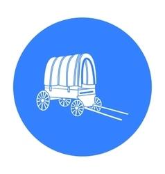 Cowboy wagon icon black singe western icon from vector