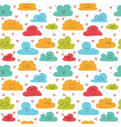 Cute hand drawn seamless pattern with clouds drops vector