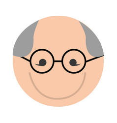 Cute round grandfather man face cartoon vector
