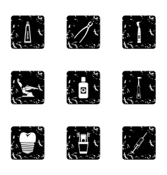 Dental treatment icons set grunge style vector