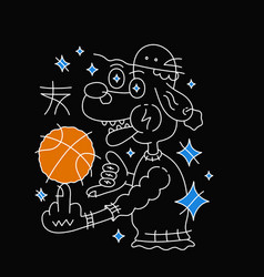 dog in hat with basketball ball vector image vector image