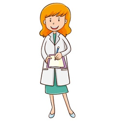 Female doctor writing on paper vector image vector image