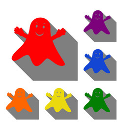 ghost isolated sign set of red orange yellow vector image