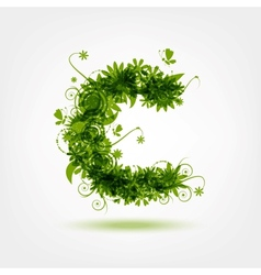 Green eco letter C for your design vector image