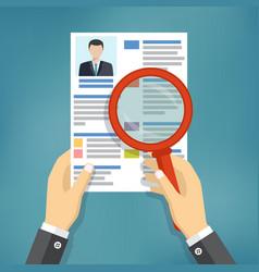 hands holding a resume and a magnifying glass vector image