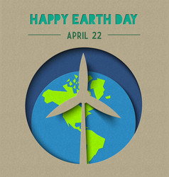 Happy earth day paper cut wind energy vector