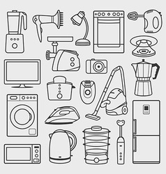 home appliances icons set vector image vector image