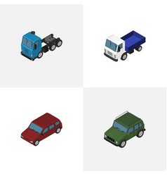 Isometric automobile set of armored truck car vector