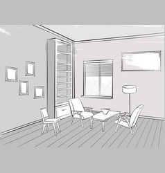 living room interior reading place furniture vector image vector image
