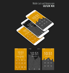 Lockscreen mobile ui smartphone mockup vector