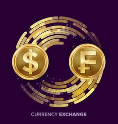 Money currency exchange dollar franc vector