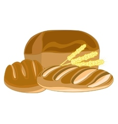 Muffin and long loaf of bread vector image vector image