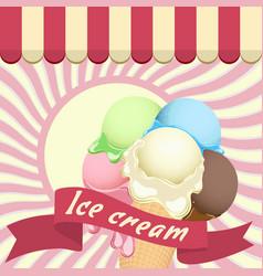 Multicolor poster - large wafer ice cream cone vector