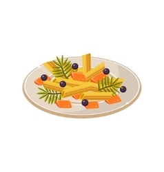 Noodles on the plate food vector