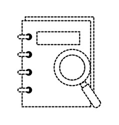 note book with magnifying glass vector image