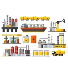 Oil industry elements collection vector