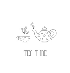 Polka dots teapot and cup with tea on white vector