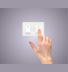 Realistic 3d silhouette of hand with light switc vector