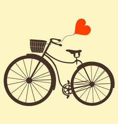 retro bike with balloons heart isolated on white vector image