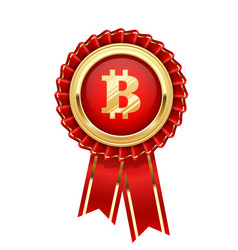 rosette with bitcoin symbol - cryptocurrency icon vector image vector image