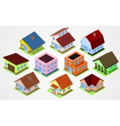 Set Isometric houses vector image vector image