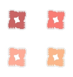 Set of paper stickers on white background hands vector