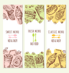 Sketch of three banners set with fast food vector