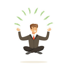 Smiling businessman sitting in a lotus pose money vector