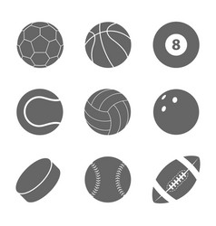sports balls set silhouettes of balls vector image