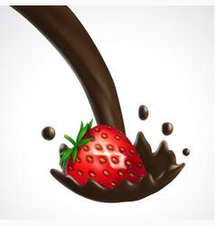 Strawberry and chocolate splash vector
