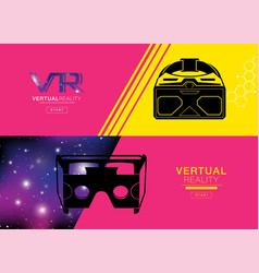 Virtual reality banner headset icon flat design vector