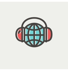 World music thin line icon vector image vector image