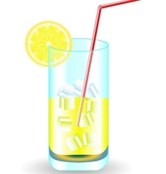 Fruit cocktail with drinking straw and lemon vector