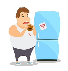 Cartoon fat man eating burger near the vector