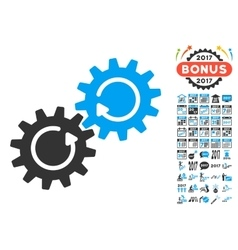 Gear mechanism rotation icon with 2017 year bonus vector