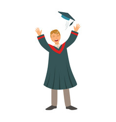 young man tossing up his cap on graduation day vector image