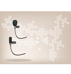 Wireless microphone brown background vector